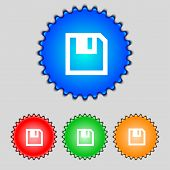Floppy Icon. Flat Modern Design Set Colour Buttons. Vector