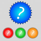 Question Mark Sign Icon. Help Symbol. Faq Sign. Set Colourful Buttons Vector