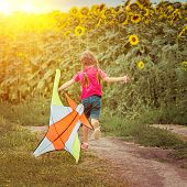happy beautiful little girl witha kite