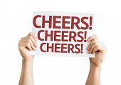 Cheers! card isolated on white background