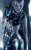 Space Woman In Silver Clothing In Light