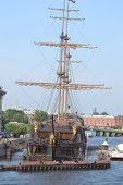 Old Frigate Near The Waterfront In St.petersburg.
