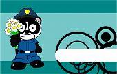 happy flowers panda bear cop cartoon background