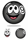 Billiard ball 9 in cartoon style