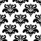 Seamless black and white flourish pattern