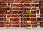 Ladders against old brick wall. 3d illustration