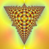 stock photo of tetrahedron  - Computer generated fractal image with an abstract tetrahedron design in yellow and red - JPG
