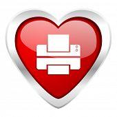 printer valentine icon print sign