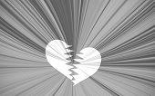 Black Valentine Background, Black And White Starburst With White Heart Breaking
