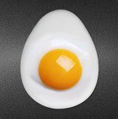 Fried egg on frying pan