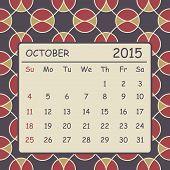 Calendar October 2015 Design. Geometric Pattern Background