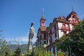 Vitznau, Switzerland - April 20, 2014:  Hotel Vitznauerhof At Mount Rigi Foothills And Shore Of  Lak
