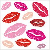 Set of lips print on isolated white background. Vector