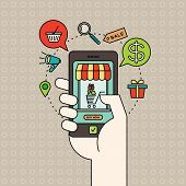 Outline E-commerce Icons And Smart Phone In Hand With Digital Marketing Online Shopping Concept