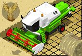 Isometric Green Thresher At Work In Front  View