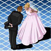 Isometric Kissing Wedding Couple