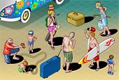 Isometric Tourists Peoples Set In Vacation