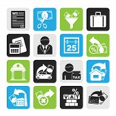 Silhouette Taxes, business and finance icons