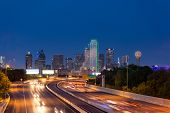 Dallas downtown skyline at night, Texas