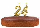 picture of 24th  - birthday cake with candles number 24 isolated on white background - JPG