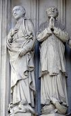 VIENNA, AUSTRIA - OCTOBER 10: Statue of Saint from south portal of gothic church Maria am Gestade in Vienna, Austria on October 10, 2014.