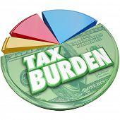 Tax Burden words on a 3d pie chart to illustrate a high percentage of income or revenue owed to the government