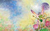 image of faerie  - Cartoon illustration of a faerie with an evening or morning sky - JPG