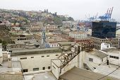 View to the historical center of the Valparaiso city, Chile.