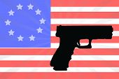 picture of civil war flags  - American Flag With A Silhouette Of A Hand Gun - JPG