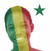 National flag of Senegal inlaid in the skin of a Senegalese woman