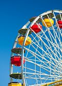 colorful Ferris wheel in blue sky background