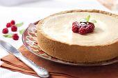 Coffee And Cream Cake With Raspberries