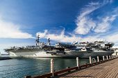 SAN DIEGO, CA - JAN 29: USS midway aircraft carrier in San Diego bayv