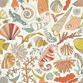 stock photo of shell-fishes  - Vector seamless pattern with hand drawn fishes - JPG