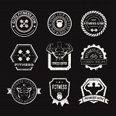 image of bodybuilder  - Set of different sports and fitness logo templates - JPG