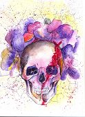 stock photo of day dead skull  - Skull and Flowers Illustration Day of The Dead - JPG