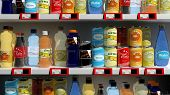 Various 3D beverages products on supermarket shelve