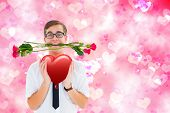 pic of girly  - Romantic geeky hipster against digitally generated girly heart design - JPG