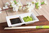 Soy Sauce, Wasabi And Chopsticks