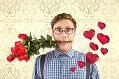 Geeky hipster biting a bunch of roses against elegant patterned wallpaper in cream tones