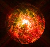 picture of sorcery  - Magical red glowing ball of light with the rays of the stars - JPG
