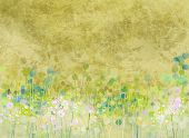 picture of abstract painting  - Abstract painting flowers field on grunge paper texture background - JPG