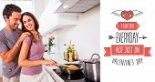 Woman preparing food at the stove against cute valentines message