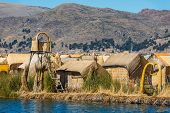 Uros floating islands in the peruvian Andes at Puno Peru