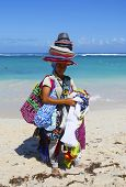Unidentified beach vendor at Bavaro beach in Punta Cana