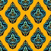 Colorful Damask seamless floral vector design