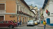 Quito, Ecuador - May 2014: Cars Causing Traffic Jam at the Street of the Historical Center