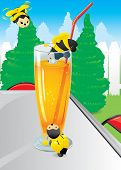 Cute bees attracted by the sweet scent of orange juice