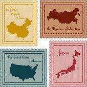 Set Of Vintage Stamps