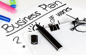 Business Plan Words Near Highlighters And Glasses, Business Concept
